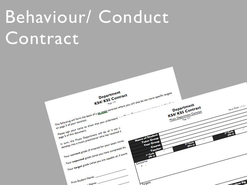 Behaviour/ Conduct Contract