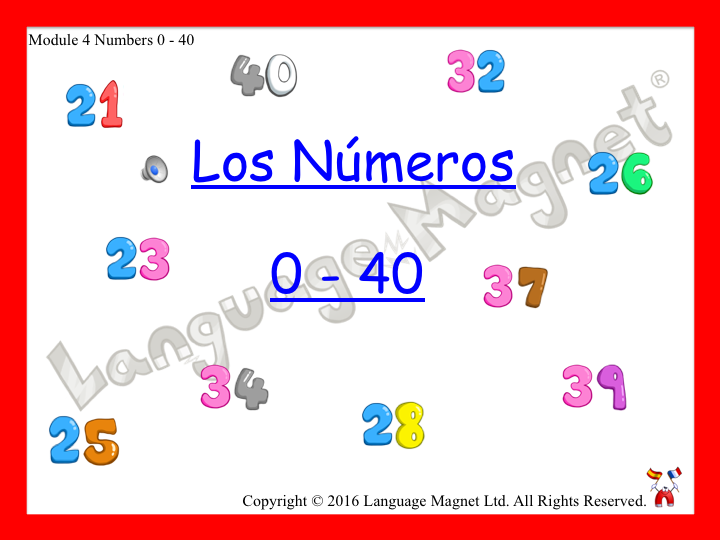 Spanish Numbers 0 to 40