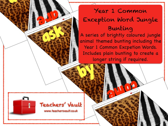 Year 1 Common Exception Word Jungle Bunting Display