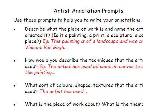 KS3 Artist Annotation Help sheet - Literacy