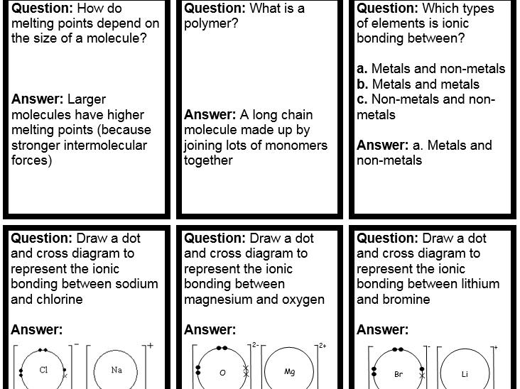 9-1 GCSE Chemical bonding quiz quiz trade cards