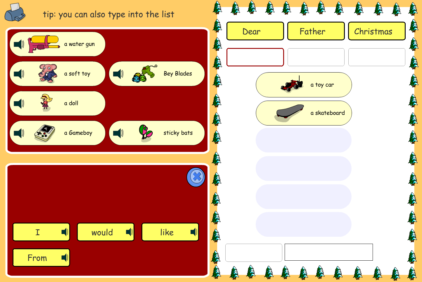 Christmas List Interactive Activity - Christmas KS1