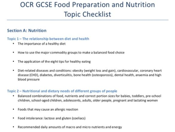 OCR GCSE Food Preparation and Nutrition - Topic Checklist