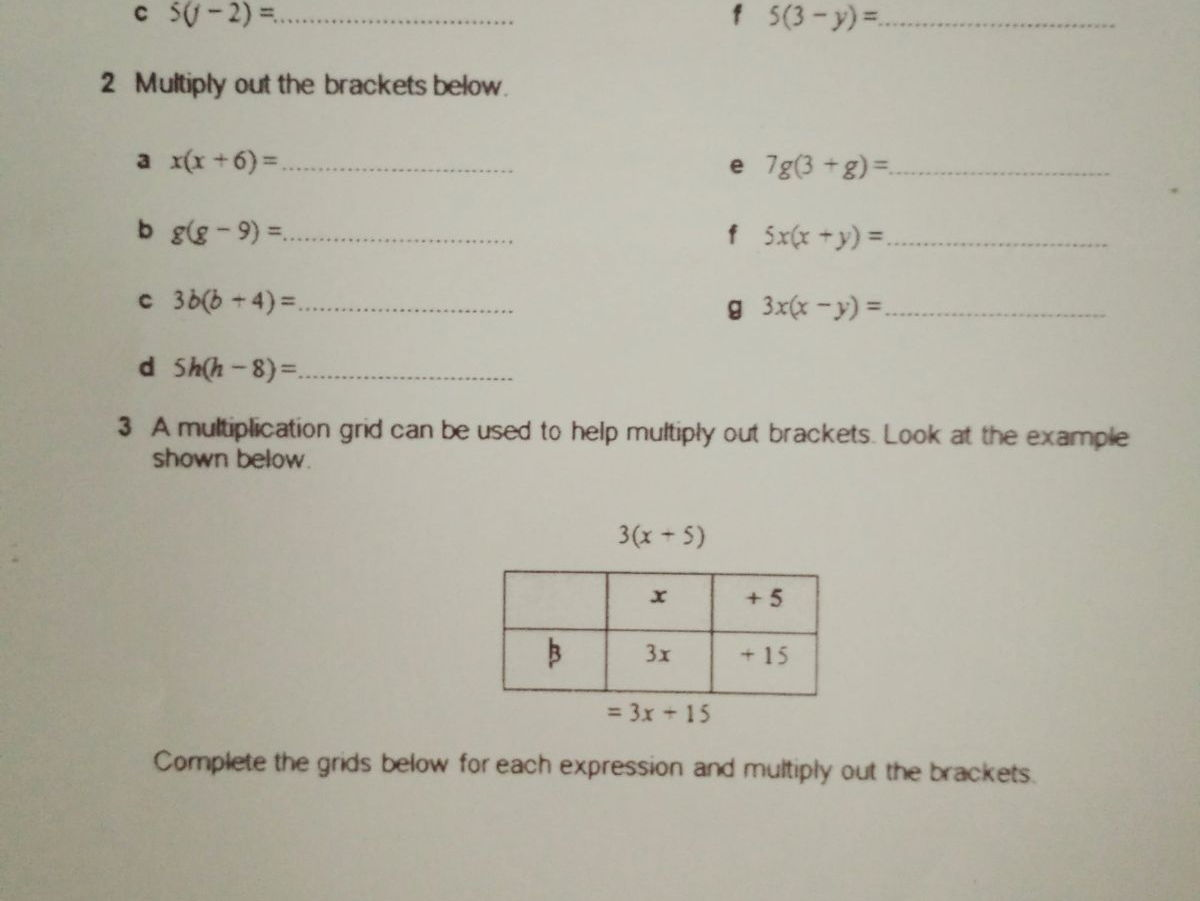 Bundle - Math  Worksheets - Algebra -Factorization - Expand brackets - Formula