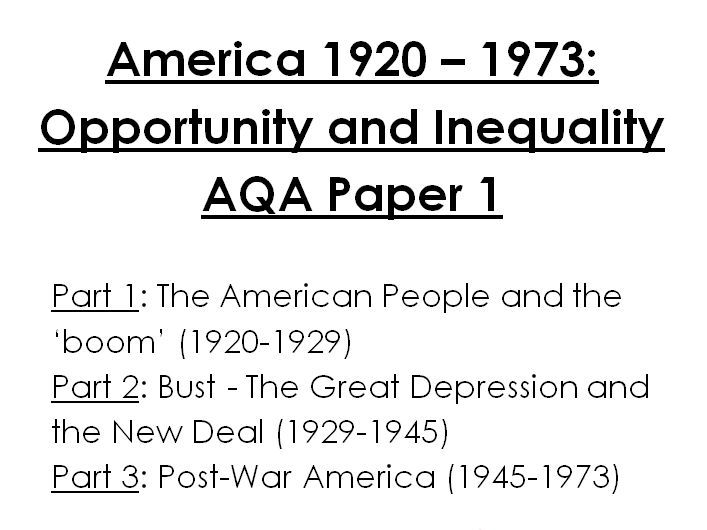 Revision Fill-In Booklet - America 1920-1973 GCSE History AQA - Opportunity and Inequality