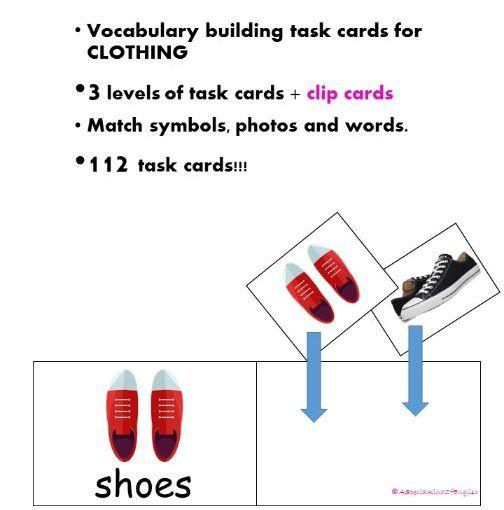 Vocab building task cards - CLOTHING