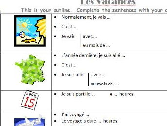 A scaffolding worksheet about holidays with 3 time frames