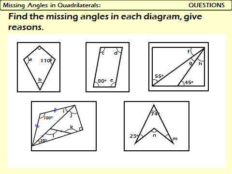 Polygons: Angles in Quadrilaterals and Triangles