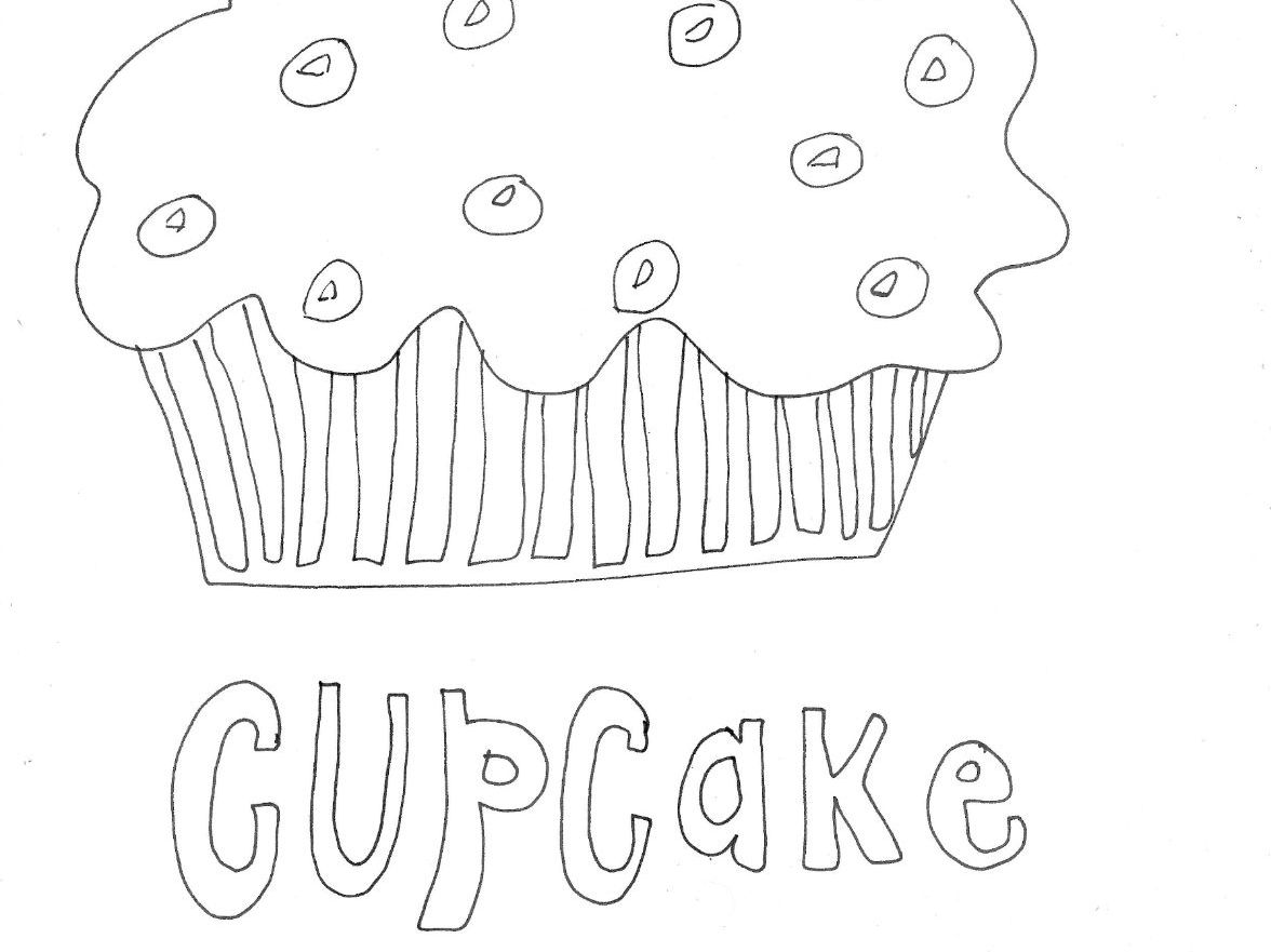 Cupcakes and Cakes  Colouring Pages