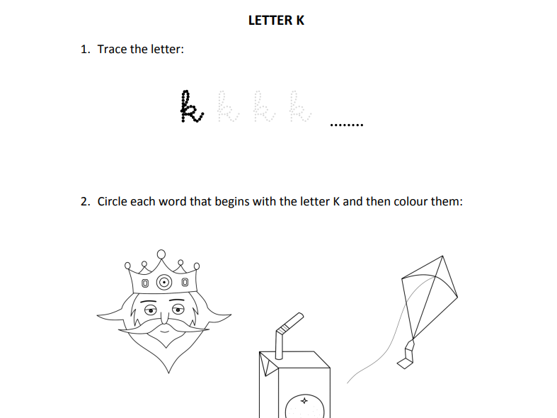 Learning letter K for Reception students