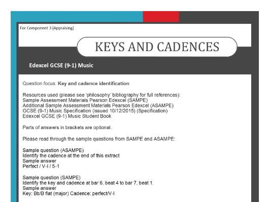 MUSIC EDEXCEL GCSE (9-1) ANALYSIS OF QUESTIONS - KEYS AND CADENCES