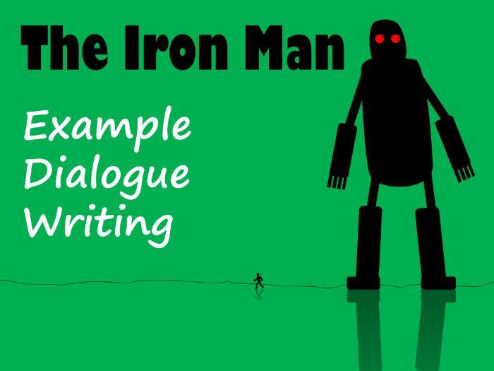The Iron Man Dialogue Writing Example Text, Feature Identification & Answers