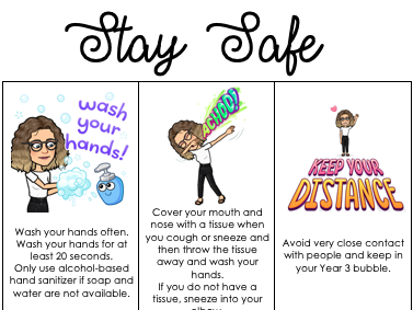 Stay Safe Covid Poster - Primary
