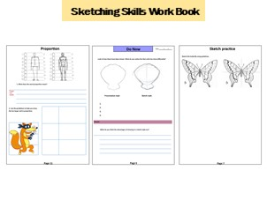 Sketching Skills Work Book. Suitable for class work or home work