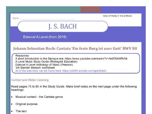 Edexcel Music A level (from 2016) Bach worksheet