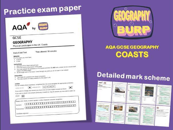AQA GCSE Geography (9-1) - Practice Exam Paper - Coasts - Coastal Landscapes in the UK