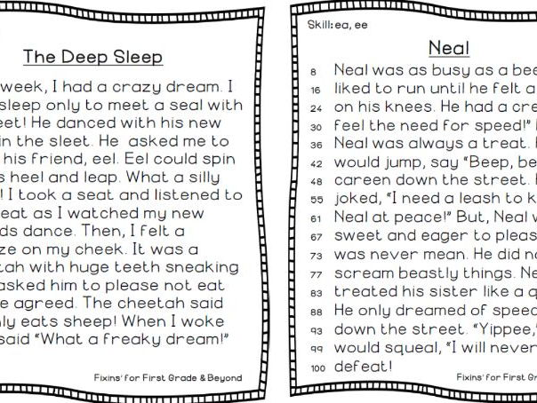 FF&B's NO FRILLS ORIGINAL Decodable Reader STORIES   - EE & EA