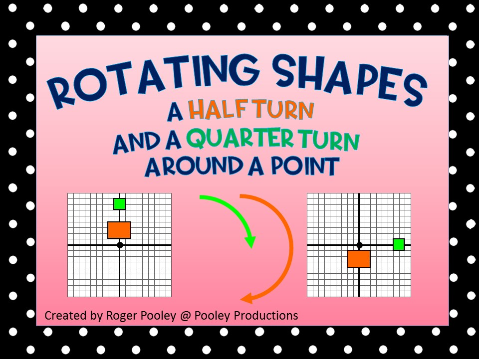 Rotating shapes a Half turn a and a Quarter turn around a Point