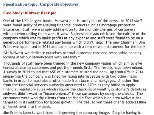A level Business Edexcel ; corporate objectives case study (theme 3.1)