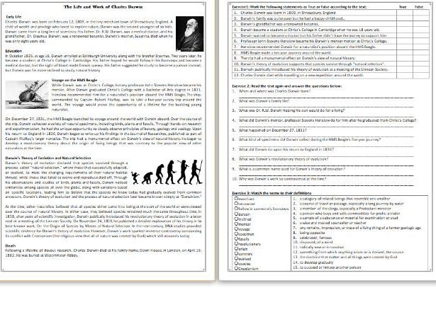 The Life and Work of Charles Darwin Reading Comprehension – Charles Darwin Worksheet