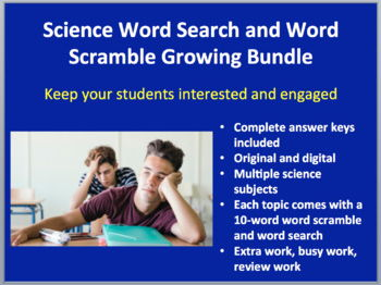 Word Search and Scramble Student Activity Bundle - 67 Activities -Growing Bundle