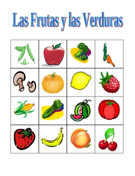 Frutas y Verduras (Fruits & vegetables in Spanish) Bingo game