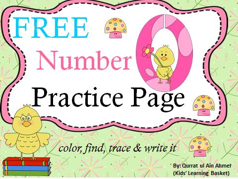 Free Number Zero Practice Page