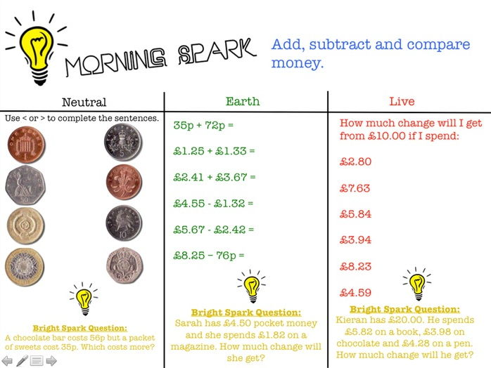 Morning Spark Maths Activities Year 3/4