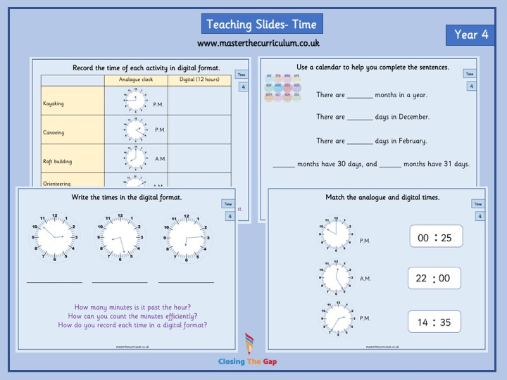 Year 4- Time - White Rose Fluency Teaching Slides