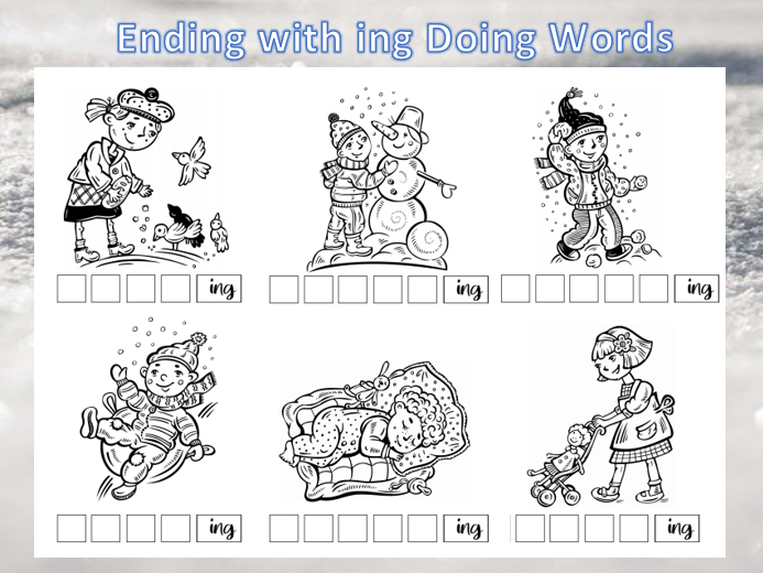Words and Pictures ending with Ing
