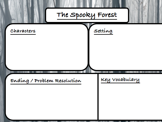 Spooky forest story planning sheet