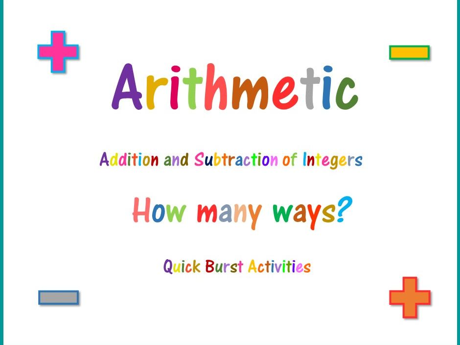 Integer Addition and Subtraction 9 - 11 : How Many Ways?