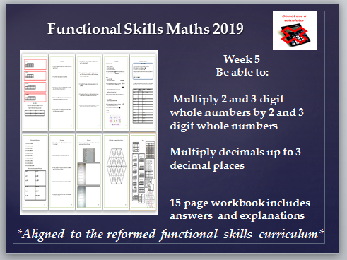 Reformed functional skills workbook. Multiplication including decimals. Answers included.