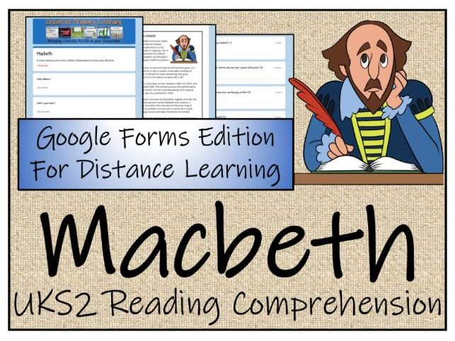 UKS2 Macbeth Reading Comprehension & Distance Learning Activity