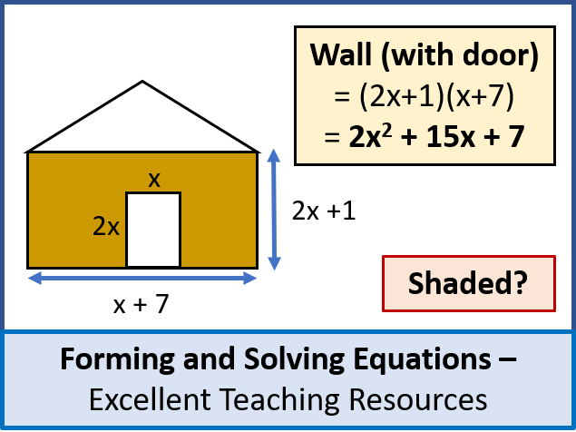 Algebra: Forming and Solving Equations (+ worksheet) - aiming at levels 7 - 9
