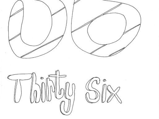Thirty Six:  Numbers (with word): Colouring Page