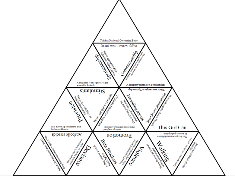 ocr gcse pe new 2016 spec tarsia triangle puzzle section 2