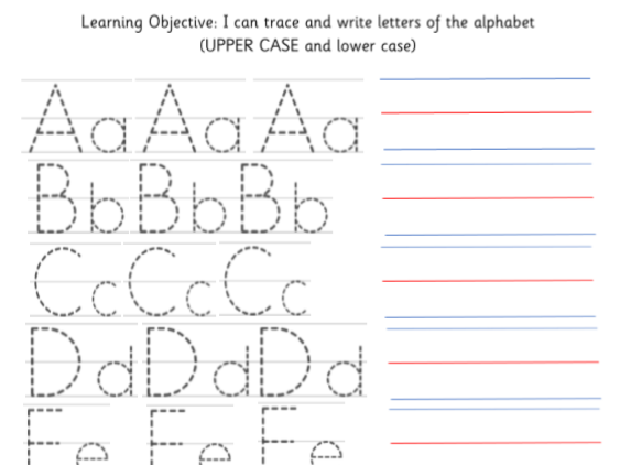 Trace and write the letters of the alphabet Upper and Lower case