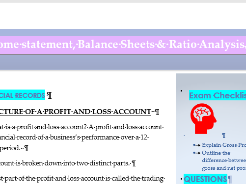 Revision notes Financial Statements (Income Statements and Balance Sheets ) Ratio Analysis
