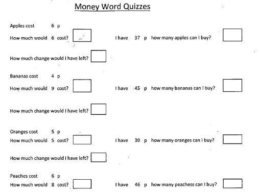 Money - Word Quizzes