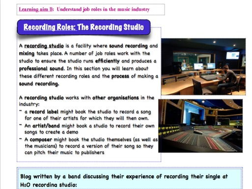 BTEC MUSIC - Unit 1 'The Music Industry'  - Recording Studio / Recording Roles