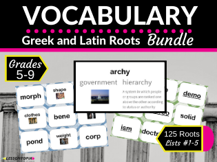 Greek and Latin Roots Vocabulary Bundle-Lists 1-5