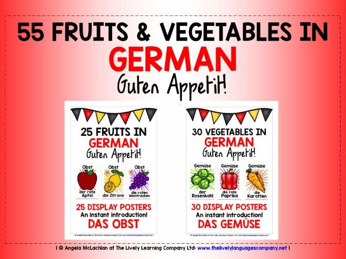 GERMAN FOR CHILDREN - 55 FRUIT & VEGETABLES POSTERS / FLASHCARDS PACK