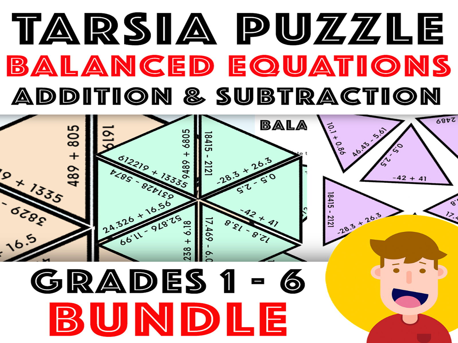 Balance The Equation Tarsia Puzzle: Addition & Subtraction - Years 2 - 6 Bundle