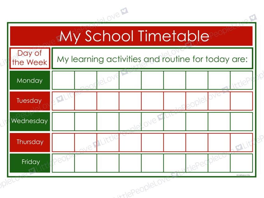 My School Timetable (Green/Red)