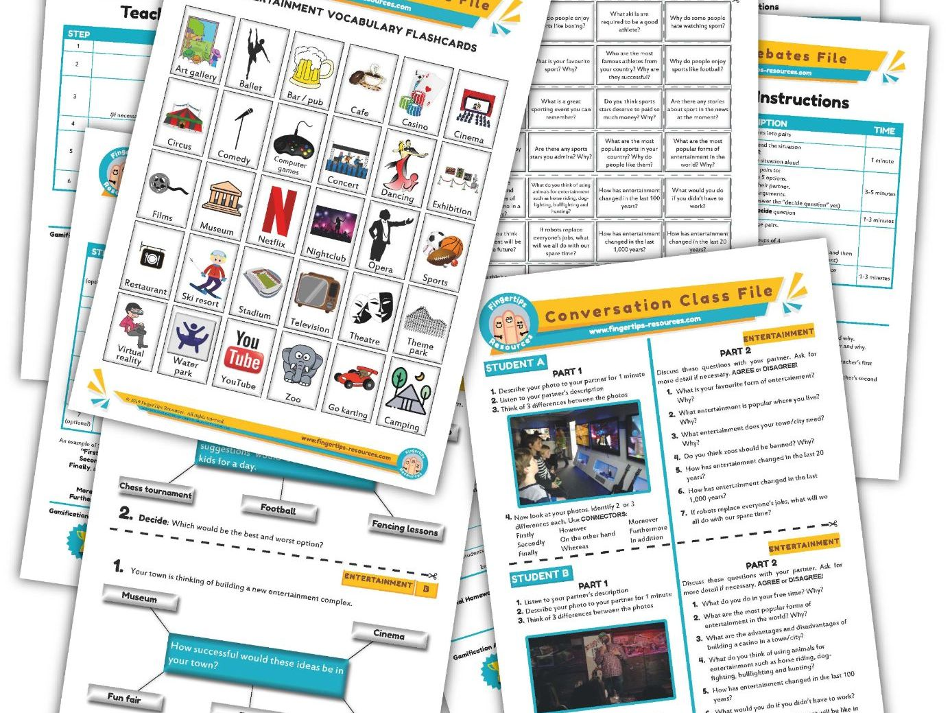 Entertainment & Fun Unit - ESL Activity Bundle