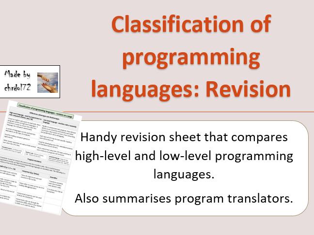 GCSE Computing: Classification of programming languages