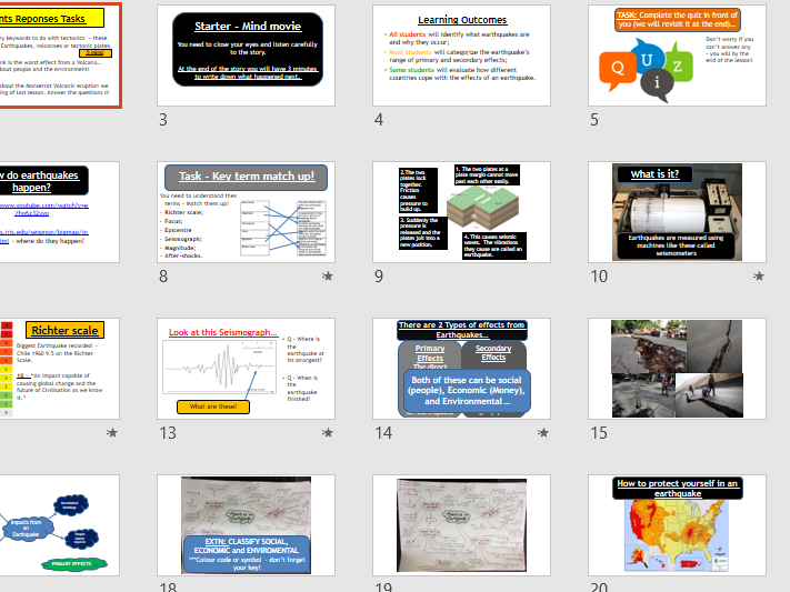 Tectonic Hazards - Earthquakes (Lesson and resources).