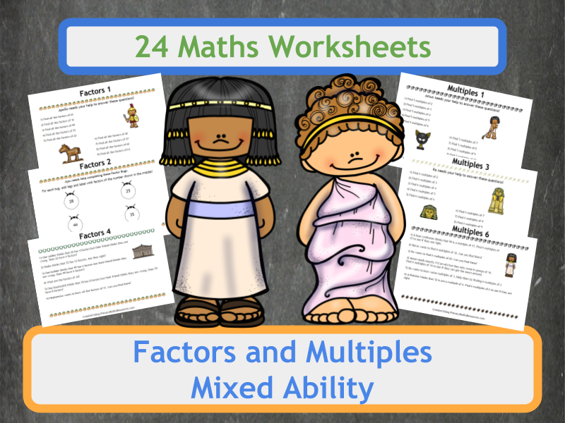 Finding Factors and Multiples Worksheets - Ancient Greeks and Egyptians Theme