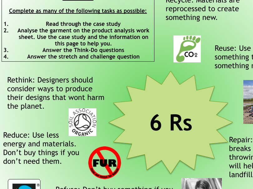 Sustainability product analysis-lesson in a bag